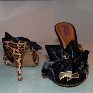 Hale Bob Cheetah Bow Leopard print peep toe mule